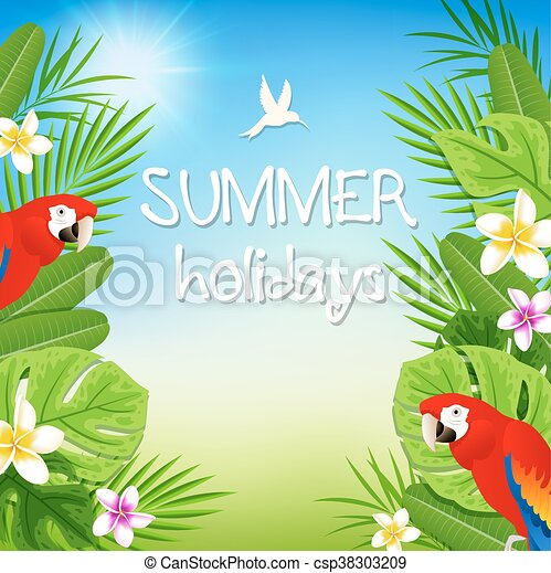 Tropical leaves and red parrots - csp38303209