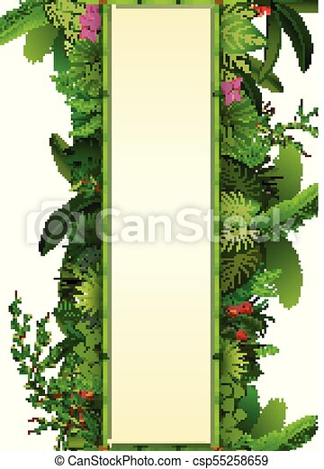 Tropical leaves background. Rectangle plants frame bamboo with space for text. Tropical foliage with vertical banner - csp55258659