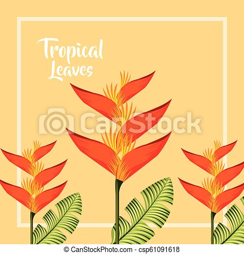 Tropical Leaves Nature Tropical Leaves Frame Sign Heliconia Flowers Vector Illustration Canstock Look no further than these artificial tropical leaves. can stock photo
