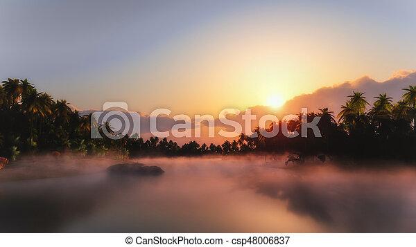 Tropical misty lake - csp48006837