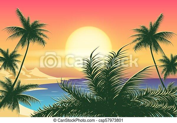 Paisaje tropical Sunset - csp57973801
