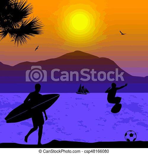 Surfers silueta en el atardecer tropical - csp48166080