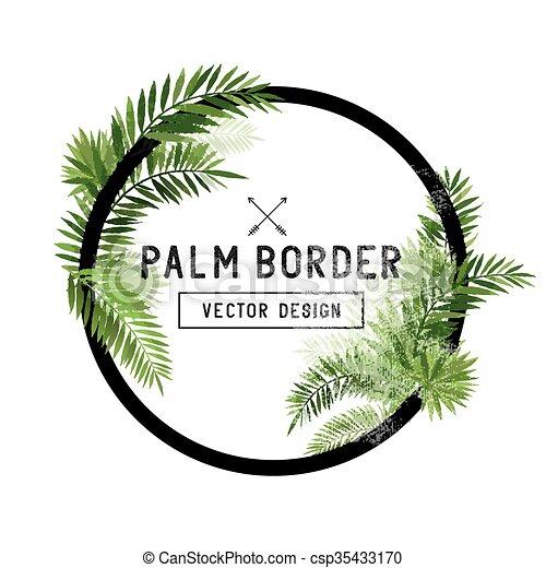 Tropical Palm Leaf Border Vector - csp35433170