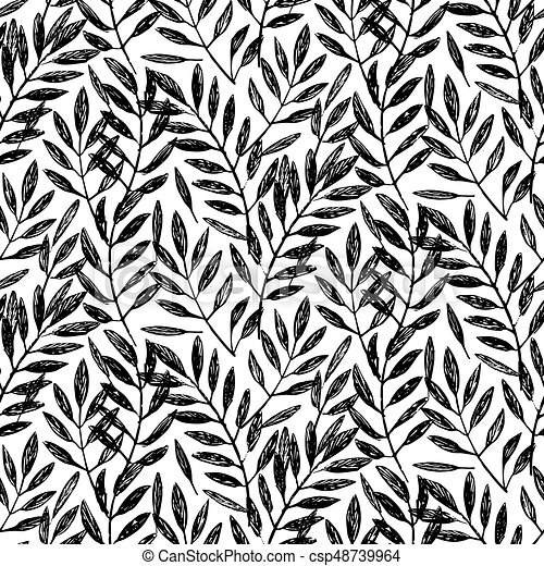 Tropical palm leaves, seamless foliage pattern. vector ...