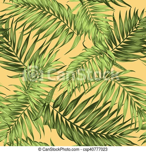 Tropical Palm Leaves Seamless Pattern Bright Green On Primrose Yellow Background Botanical Vector Design Illustration Canstock Exotic leaves, banana leaves, palm leaves, monstera leaves. https www canstockphoto com tropical palm leaves seamless pattern 40777023 html