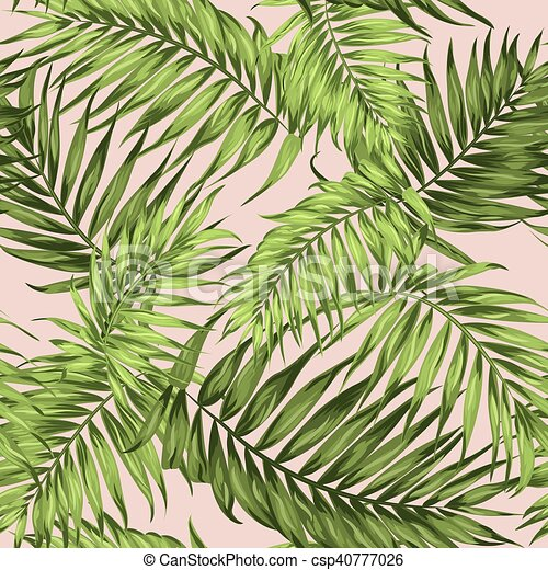 Tropical Palm Leaves Seamless Pattern Bright Green On Pale Pink Background Botanical Vector Design Illustration