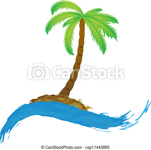 Tropical palm on island with sea. - csp11443865