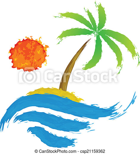 Tropical palm on island with sea. - csp21159362