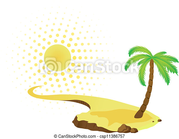 Tropical palm on island with sea. - csp11386757