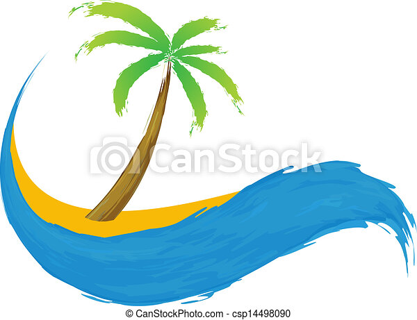Tropical palm on island with sea. - csp14498090