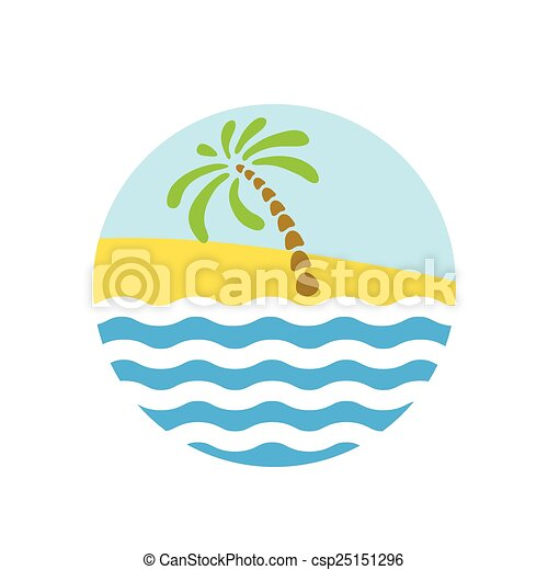 Tropical palm on island with sea. - csp25151296