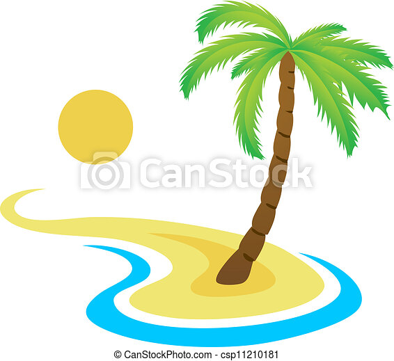 Tropical palm on island with sea. - csp11210181