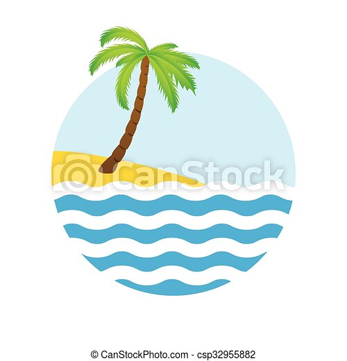 Tropical palm on island with sea. - csp32955882