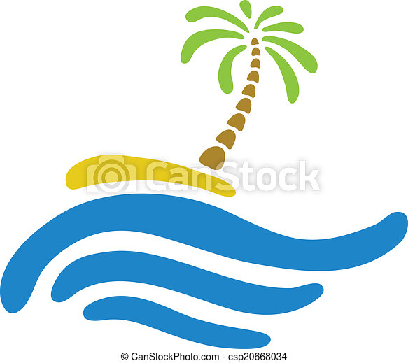Tropical palm on island with sea. - csp20668034