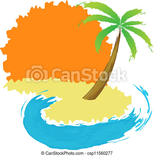 Tropical palm on island with sea. - csp11560277