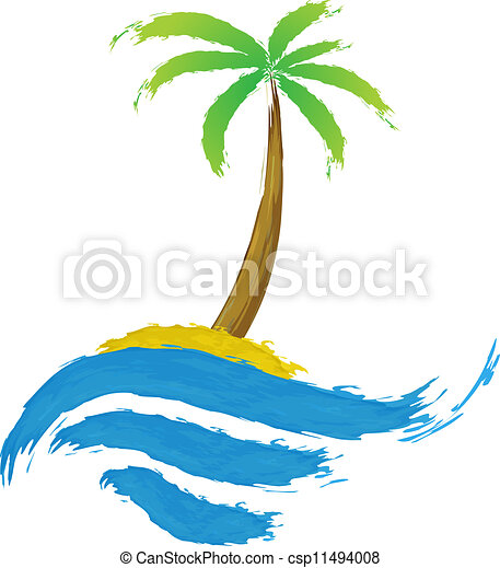 Tropical palm on island with sea. - csp11494008