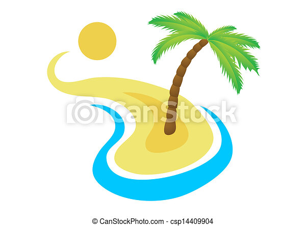 Tropical palm on island with sea. - csp14409904