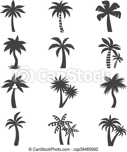 tropical palm tree vector icons set silhouettes on the eps rh canstockphoto com Tropical Leaves Vector Tree Vector Clip Art