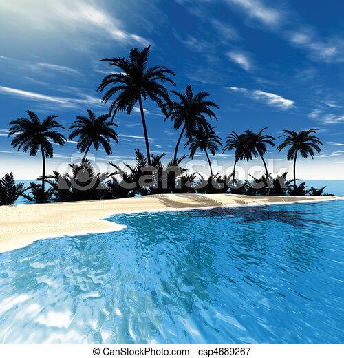Palmas de mar tropicales - csp4689267