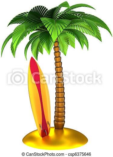 Tropical Palmera Tabla De Surf Detallado Verano Render Cg