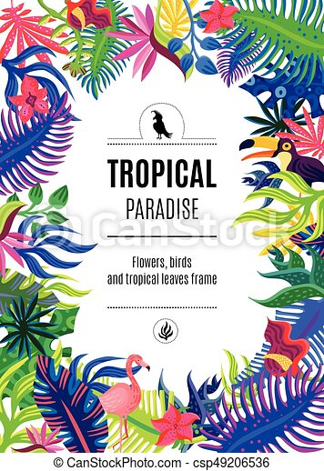 Tropical Paradise Frame Background Poster Tropical Paradise Exotic
