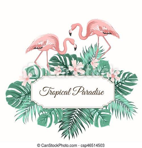 Tropical Paradise Green Leaves Flowers Flamingo Tropical