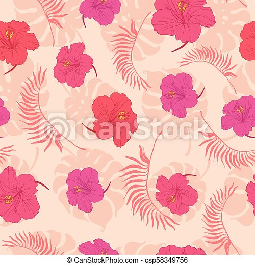 Tropical Pink Hibiscus Flowers Seamless Pattern Great For Summer