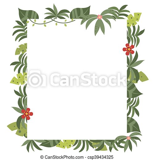 Tropical plantas marco divertido espacio text fondo vac o blanco tarjeta - Marcos para plantas ...