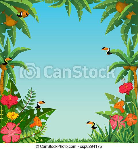 tropical plants and parrots. - csp6294175