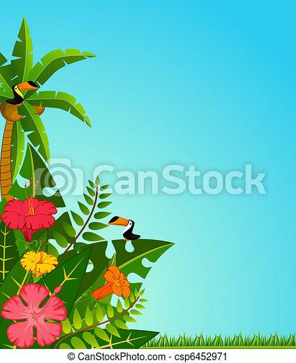 tropical plants and parrots. - csp6452971