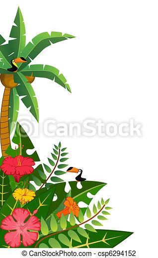 tropical plants and parrots. - csp6294152