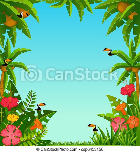 tropical plants and parrots. - csp6453156