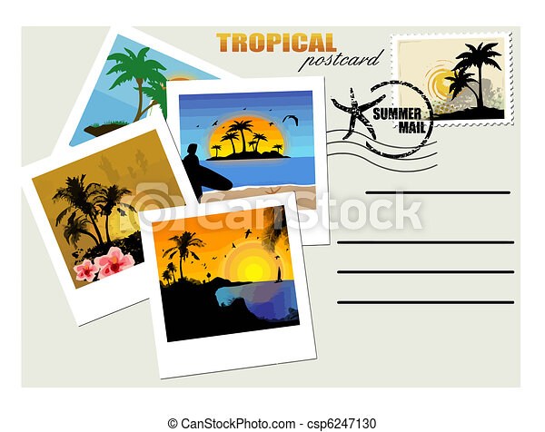 tropical postcard travel postcard with tropical instant vector rh canstockphoto com postcard clipart for wedding postcard clipart black and white