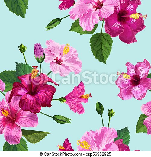 Tropical Purple Hibiscus Flower Seamless Pattern Floral Summer