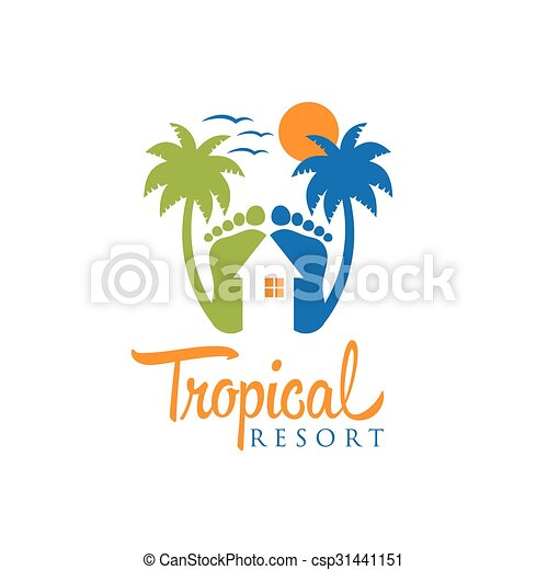 tropical resort vector design template - csp31441151