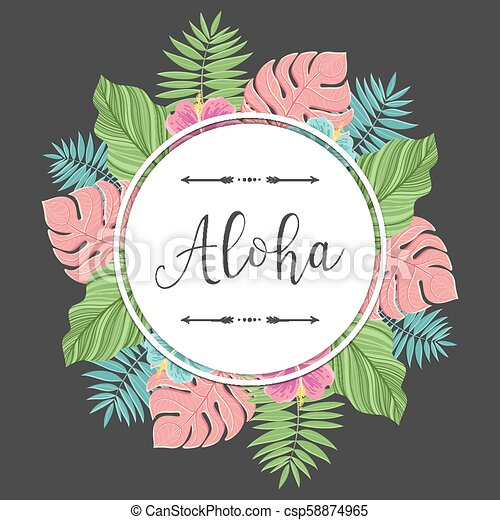 Tropical round label with colorful palm leaves. For invitations, greeting cards, blogs, posters and more. Vector. - csp58874965