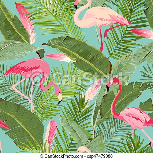 tropical seamless vector flamingo and floral summer pattern vector search clip art. Black Bedroom Furniture Sets. Home Design Ideas