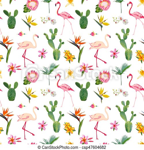 Tropical Seamless Vector Floral Summer Pattern For Wallpapers Backgrounds Textures Textile Cards