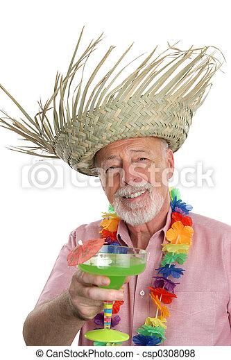 Tropical Senior Man & Margarita - csp0308098