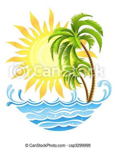 Palmas tropicales con sol y océano - csp3299998