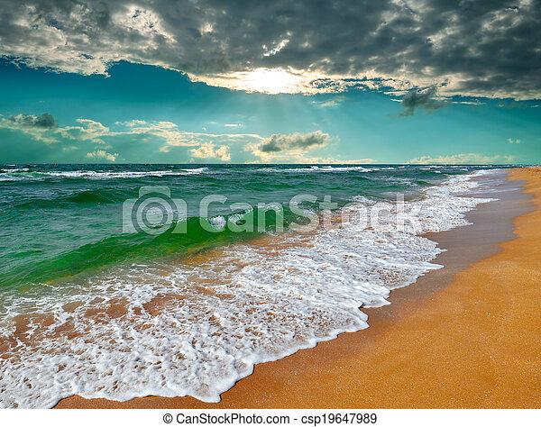 Tropical sunrise over the sea - csp19647989