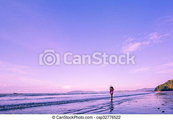 Tropical sunset on the beach. - csp32776522