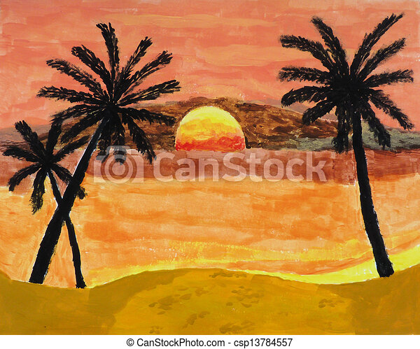 Tropical Sunset Painting A Of Landscape