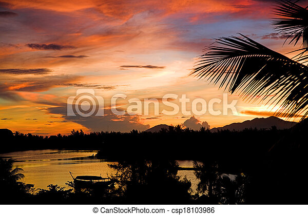 tropical sunset - csp18103986