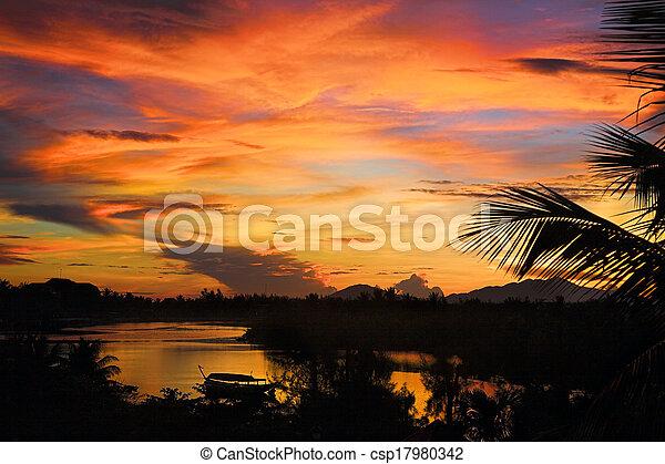 tropical sunset - csp17980342