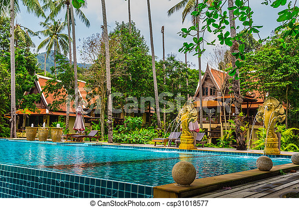 Tropical Swimming Pool in the jungle.