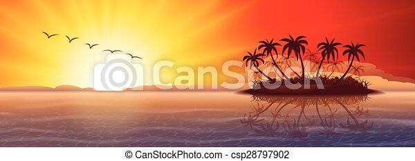 tropical sziget, napnyugta - csp28797902