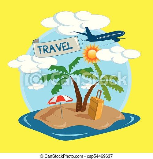 tropical sziget, utazás, vektor, tervezés - csp54469637