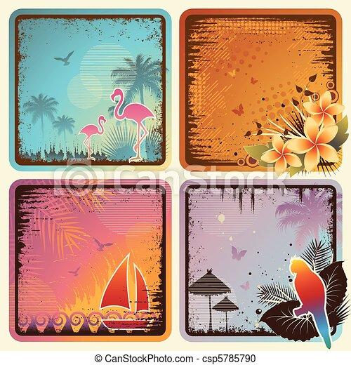 tropical, tarjetas, conjunto - csp5785790