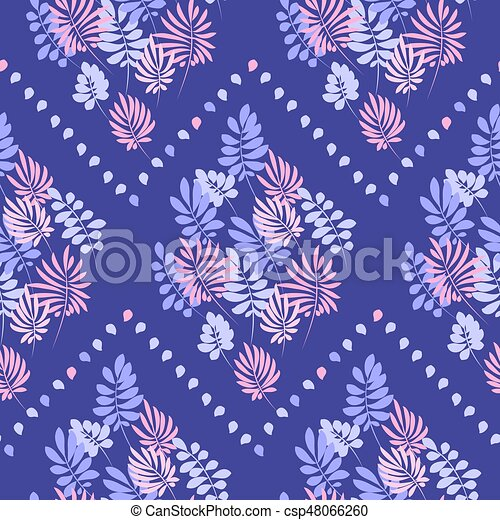 Tropical tender image for bed linen. Seamless floral pattern with exotic leaves for wrapping paper, fabric, cloth. Vector illustration - csp48066260